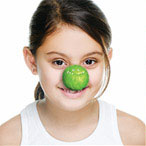 A girl with green nose
